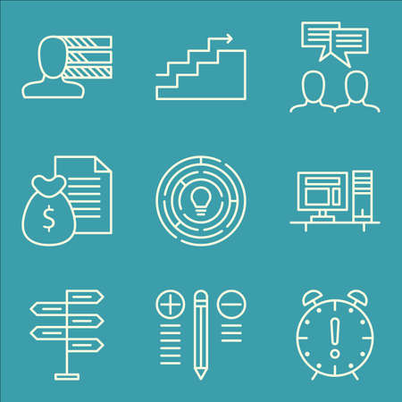 personality: Set Of Project Management Icons On Decision Making, Best Solution, Personality And More. Illustration