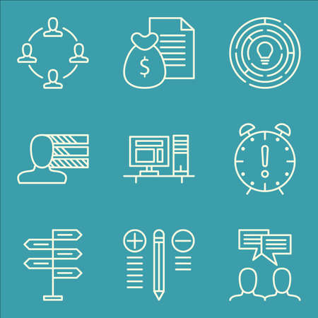 more money: Set Of Project Management Icons On Deadline, Workspace, Money Revenue And More.