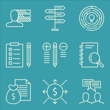 task list: Set Of Project Management Icons On Cash Flow, Task List, Decision Making And More.