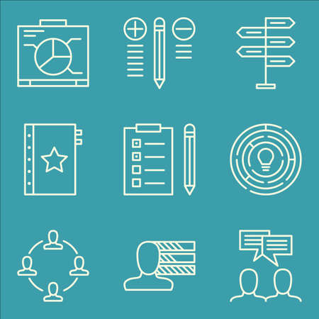 task list: Set Of Project Management Icons On Task List, Team Meeting, Decision Making And More. Premium Quality EPS10 Vector Illustration For Mobile, App, UI Design.