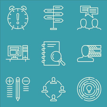 personality development: Set Of Project Management Icons On Personality, Deadline, Decision Making And More.