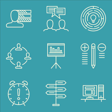 personality: Set Of Project Management Icons On Teamwork, Best Solution, Personality And More. Illustration