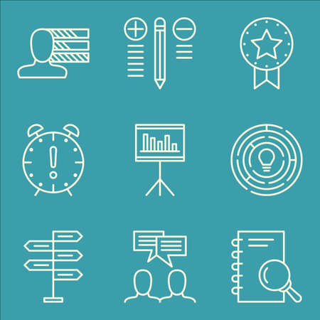 personality development: Set Of Project Management Icons On Best Solution, Personality, Award And More.
