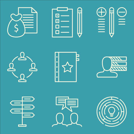 revenue: Set Of Project Management Icons On Money Revenue, Team Meeting, Personality And More. Illustration