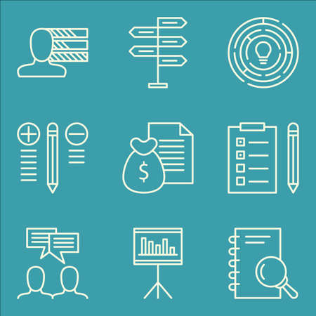 personality development: Set Of Project Management Icons On Team Meeting, Creativity, Money Revenue And More.