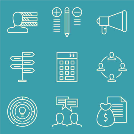 revenue: Set Of Project Management Icons On Personality, Money Revenue, Best Solution And More.