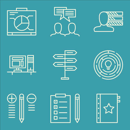 personality development: Set Of Project Management Icons On Decision Making, Personality, Creativity And More.