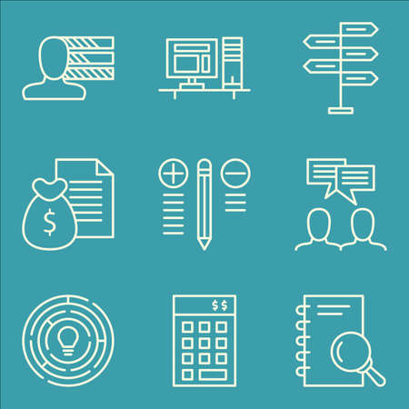 personality development: Set Of Project Management Icons On Workspace, Team Meeting, Money Revenue And More. Premium Quality EPS10 Vector Illustration For Mobile, App, UI Design. Illustration