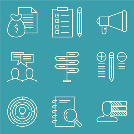 more money: Set Of Project Management Icons On Team Meeting, Money Revenue, Research And More.