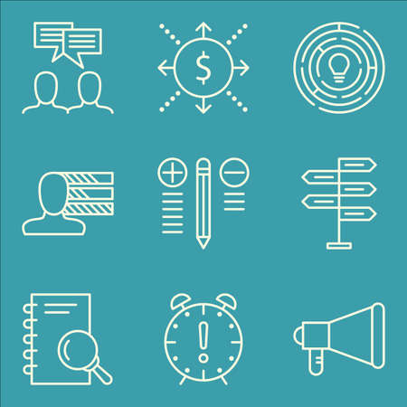 personality development: Set Of Project Management Icons On Research, Cash Flow, Personality And More.