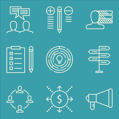 task list: Set Of Project Management Icons On Best Solution, Task List, Team Meeting And More
