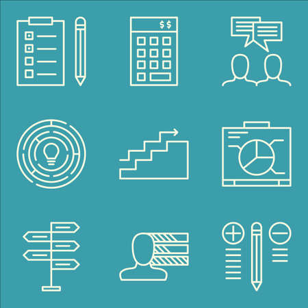 task list: Set Of Project Management Icons On Charts, Task List, Graph And More.