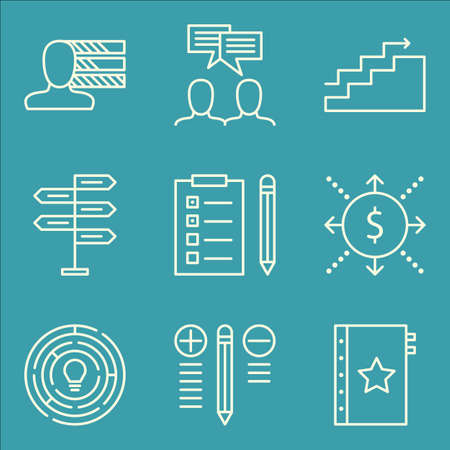 personality: Set Of Project Management Icons On Cash Flow, Personality, Decision Making And More.