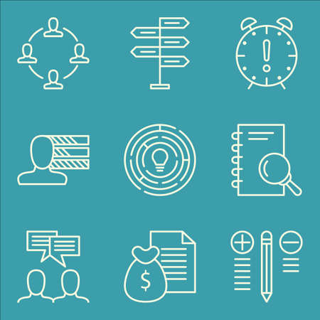 personality: Set Of Project Management Icons On Personality, Research, Team Meeting And More. Illustration
