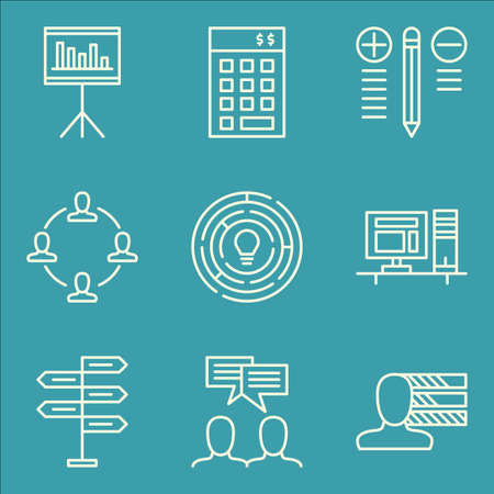 management team: Set Of Project Management Icons On Decision Making, Personality, Team Meeting And More.