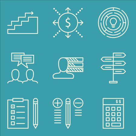personality: Set Of Project Management Icons On Personality, Charts, Cash Flow And More.