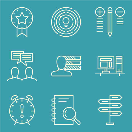 personality: Set Of Project Management Icons On Personality, Team Meeting, Decision Making And More.