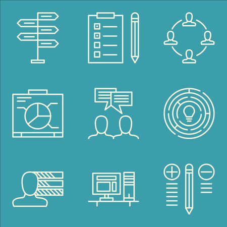 personality: Set Of Project Management Icons On Task List, Decision Making, Personality And More.