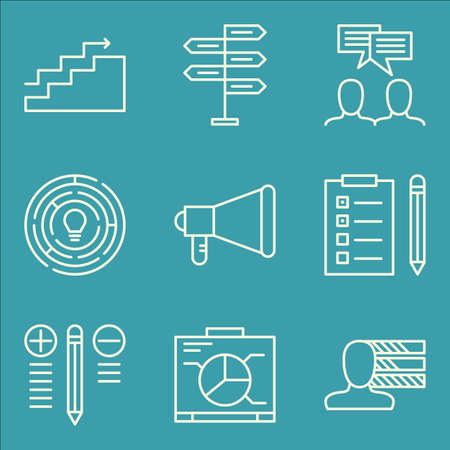 personality development: Set Of Project Management Icons On Decision Making, Personality, Charts And More. Premium Quality EPS10 Vector Illustration For Mobile, App, UI Design. Illustration