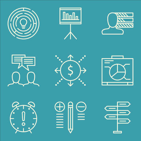 personality development: Set Of Project Management Icons On Graph, Personality, Statistics And More. Illustration