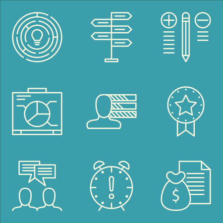 personality: Set Of Project Management Icons On Graph, Personality, Deadline And More.