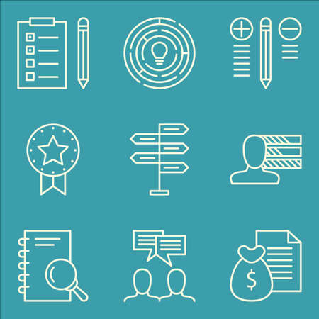 personality development: Set Of Project Management Icons On Award, Best Solution, Money Revenue And More. Illustration