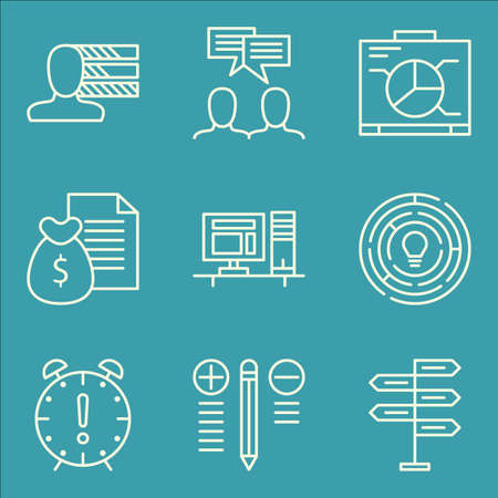 personality: Set Of Project Management Icons On Graph, Personality, Workspace And More. Illustration
