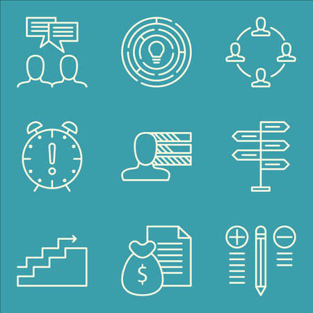personality development: Set Of Project Management Icons On Creativity, Charts, Best Solution And More.