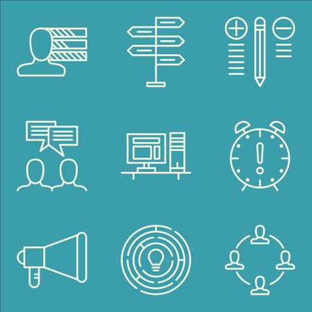 personality: Set Of Project Management Icons On Promotion, Decision Making, Personality And More.