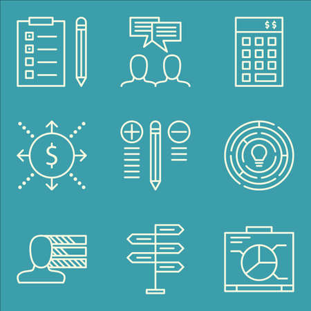 personality development: Set Of Project Management Icons On Creativity, Team Meeting, Best Solution And More.
