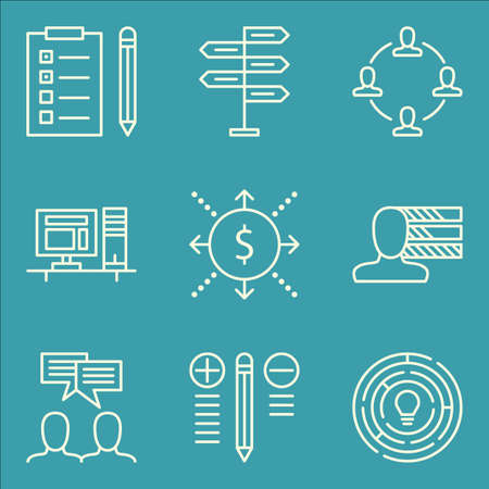 personality development: Set Of Project Management Icons On Workspace, Decision Making, Task List And More. Illustration