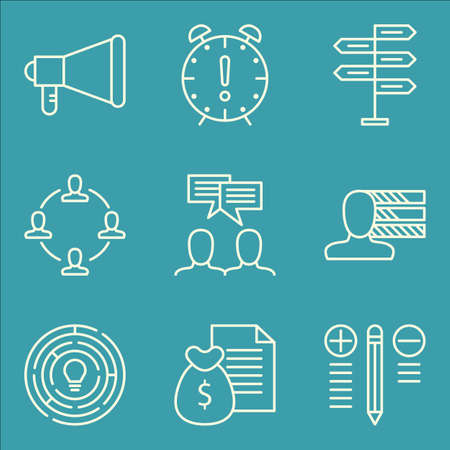 personality development: Set Of Project Management Icons On Best Solution, Creativity, Promotion And More.