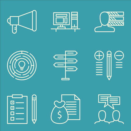task list: Set Of Project Management Icons On Team Meeting, Money Revenue, Task List And More. Illustration