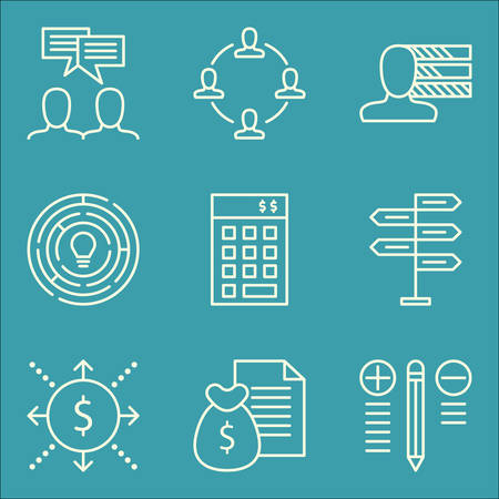 personality: Set Of Project Management Icons On Personality, Investment, Decision Making And More.