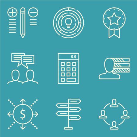 personality development: Set Of Project Management Icons On Personality, Teamwork, Investment And More.