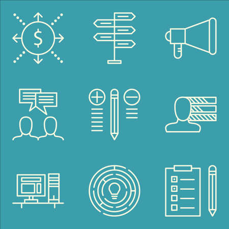 personality: Set Of Project Management Icons On Personality, Creativity, Best Solution And More.
