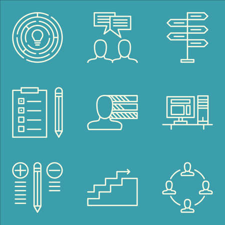 personality: Set Of Project Management Icons On Personality, Teamwork, Best Solution And More.