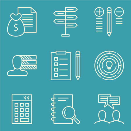 more money: Set Of Project Management Icons On Money Revenue, Best Solution, Personality And More. Illustration