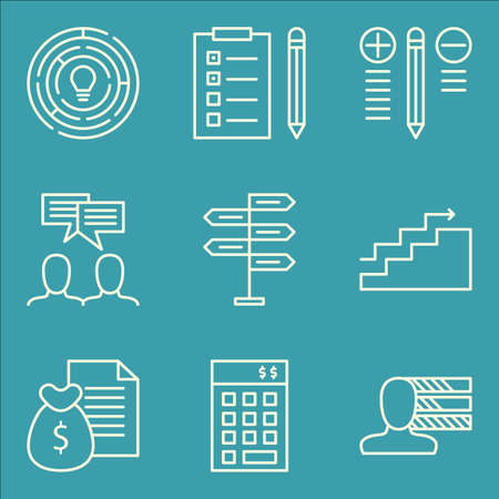 personality: Set Of Project Management Icons On Investment, Decision Making, Personality And More. Illustration