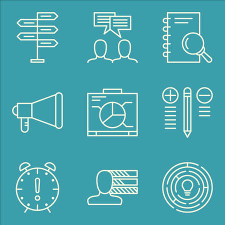 personality: Set Of Project Management Icons On Promotion, Personality, Team Meeting And More.
