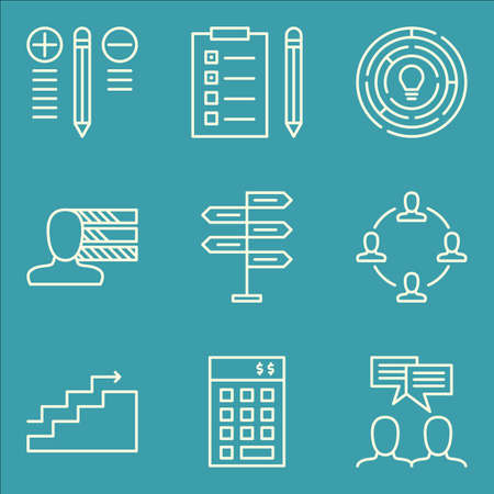 personality development: Set Of Project Management Icons On Charts, Personality, Task List And More. Illustration