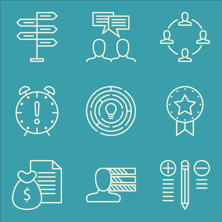 personality: Set Of Project Management Icons On Award, Decision Making, Personality And More.