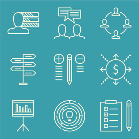 personality: Set Of Project Management Icons On Cash Flow, Creativity, Personality And More. Illustration