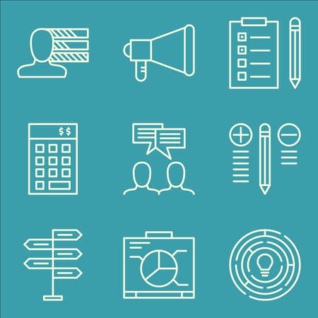 personality: Set Of Project Management Icons On Graph, Personality, Task List And More.
