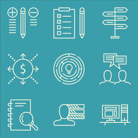 task list: Set Of Project Management Icons On Personality, Workspace, Task List And More. Illustration