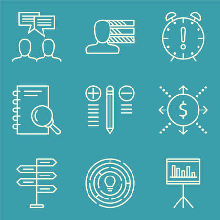 personality development: Set Of Project Management Icons On Decision Making, Personality, Statistics And More.