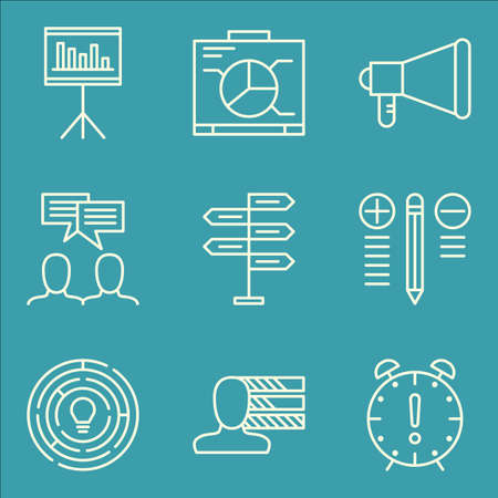 personality: Set Of Project Management Icons On Personality, Promotion, Creativity And More.