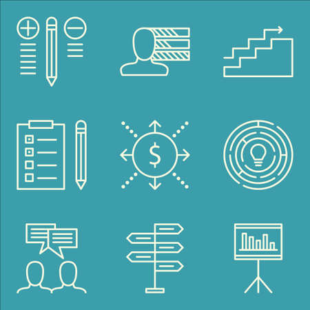 personality: Set Of Project Management Icons On Charts, Personality, Statistics And More. Illustration