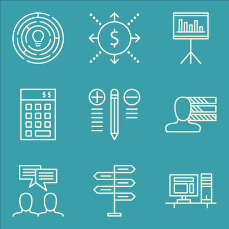 personality development: Set Of Project Management Icons On Investment, Workspace, Creativity And More. Illustration