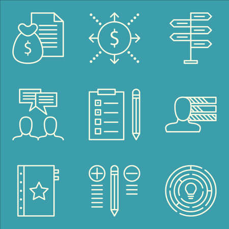 task list: Set Of Project Management Icons On Task List, Money Revenue, Quality Management And More.